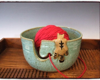 Oval Yarn Bowl with Cute Tabby Cat in Turquoise by misunrie