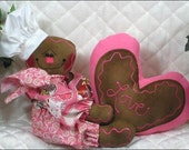 Primitive Raggedy Valentine's Day Gingerbread ShElF SiTTeR~w/Heart~So Sweet!