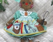 """Primitive Raggedy 2016 """"BaKeD WiTh LoVe"""" Gingerbread Collection~14"""" doll!"""