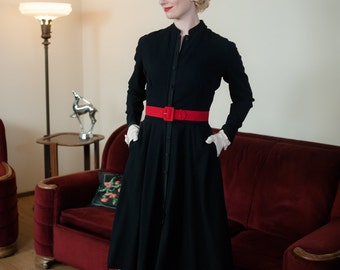 1940s Vintage Dress - Navy Blue 50s Wool New Look Dress with Button Front and Grosgrain Trim by Madeline Fauth