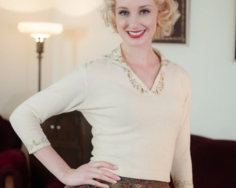 Vintage 1950s Sweater - Charming Anglomere Luisa Spagnoli Cream Angora Blend Pin Up Sweater with Embroidered Neck Detail