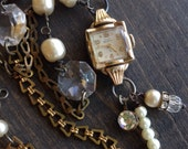 Vintage Watch Necklace Chrystal Pearl Assemblage Mixed Media Funky Jewelry Art Jewelry Valentines Day Gift For Her Fashion Over Forty