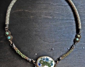 Metanoia. Chunky choker necklace, thick recycled whimsical assemblage