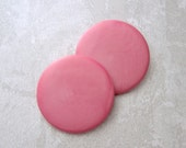 ENoRMoUS PAiR Vintage Buttons 40mm - Cotton Candy Pink Plastic Buttons - 2 VTG NOS 1 1/2 inch Smooth Satin Finish Shank Buttons PL069