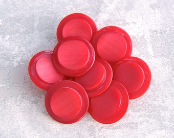 Red Coat Buttons, 27mm 1-1/8 inch - Bright Red Retro Mod Plastic Sewing Buttons - 8 VTG NOS Red Shank Buttons with Raised Centers PL161