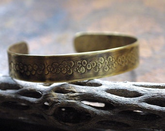 Simple Textured Brass Cuff for Men and Women - Boho Chic - Tarnished Brass - Bohemian - One-of-a-Kind - Hand Stamped