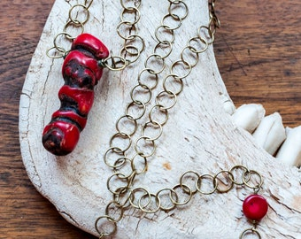 Natural Red Coral Pendant on Brass Chain - Rustic Jewelry - Boho Chic - Yoga Jewelry - Bright Red - Unisex -