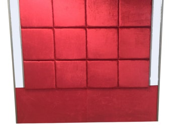 Red Velvet Extra Tall King Size Tufted Headboard Square Tuft Upholstered Red Tufted Headboard King Extra Tall Red