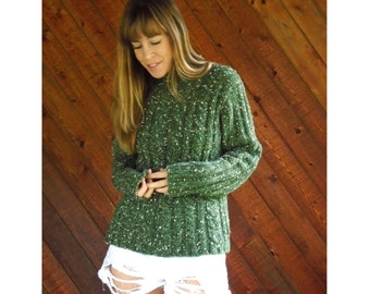 Green Knit Chunky Speckled Turtleneck Sweater - Vintage 90s - S/M