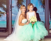 Mint Julep - Mint Flower Girl Tulle Skirt - Sewn Mint Green Tutu - Long Length - Made to Order - Weddings, Photo Prop, Birthday