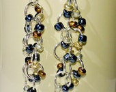 Long Dangle Beaded Earrings, Silver Plated, Black, Silver, Gold, Bronze Beads