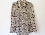 Men's Vintage 1970s Branford Shirt / Long Sleeved Button-down / Grey and Rust Coat Hanger Novelty Print