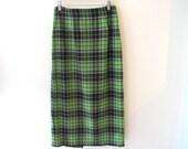 90s Acid Green Plaid Long Skirt