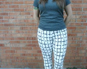 White and Black Plaid Print Leggings,Womens workout legging pant, Square lines checkered printed leggings, yoga knit pants high waisted