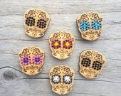 Sugar Skull Buttons Bamboo - Card of 4 x 3/4""