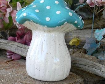 MUSHROOM Garden Statue  Turquoise    Fairy Garden ceramic  Toadstool  Gnomes  Fall Harvest Decor   zm