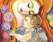 mothers love nursery wall print mother and child motherhood art print affordable art gifts, greeting card, Art Card (A5), 5.8x8.3