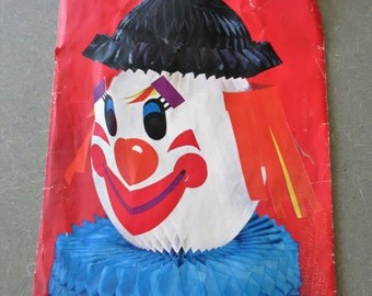 Vintage Centerpiece, Clown Centerpiece, Paper Clown, Honeycomb Tissue, Vintage Party Decor, Table Decor, Gibson Party Decoration, Kitschy