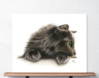 Watercolor Cat Art Print, Norwegian Forest Cat Illustration, Cute Cat Picture, Longhaired Gray Cat with Green Eyes