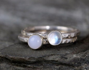 Moonstone & Blue Chalcedony Stacking Rings - You choose Moonstone OR Blue Chalcedony - Sterling Silver - Rustic Style - Handmade in Canada