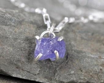 Tanzanite Pendant - Raw Uncut Rough Tanzanite Necklace - Raw Purple Gemstone - December Birthstone - Sterling Silver - Made in Canada