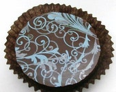 1 Dozen Ocean Blue and Metallic Silver Plume Design -Chocolate Covered Oreos Wedding Bridal Sea Metallic