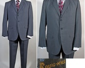 RESERVED Vintage 1960s Men's SB Suit by Royal Hall in Slate Blue SZ 40