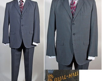 Vintage 1960s Men's SB Suit by Royal Hall in Slate Blue SZ 40