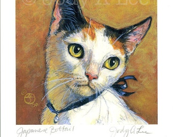 Japanese Bobtail Cat Original Oil Painting Mini Print