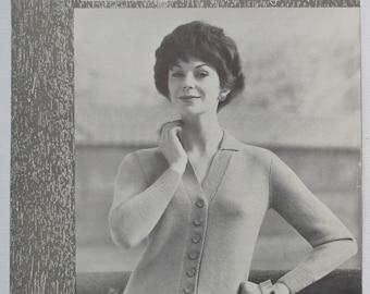 Vintage Knitting Pattern 1950s 1960s Women's Cardigan with collar 50s 60s original pattern Munrospun No. 7062 UK classic style 4 ply yarn