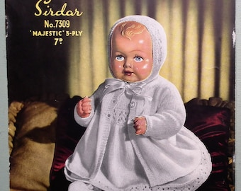 Vintage 1940s 1950s Knitting Pattern - Doll's Outfit - Dolls Clothes Layette Dress Coat Bonnet Bootees - Sirdar No. 7309 UK original pattern