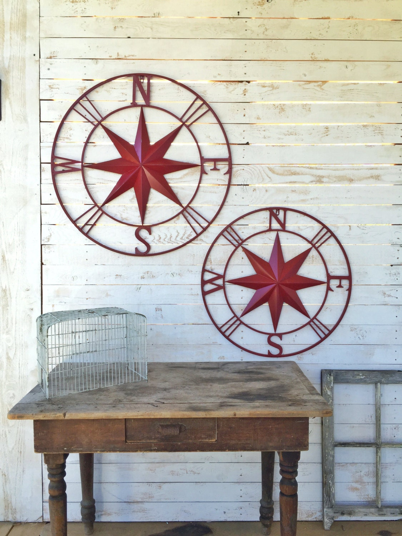 Wall Art For House Exterior : Nautical wall art metal compass