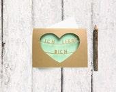 German Love Card - Heart Greeting Card - Father's Day Card - Paper Cut Card - Deutsch - I Love You Card - Ich Liebe Dich - Card for Him