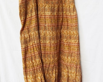 Vintage Boho Hippie Skirt Indian Floral Print Henna Brown Tan Tiered Crinkle Cotton