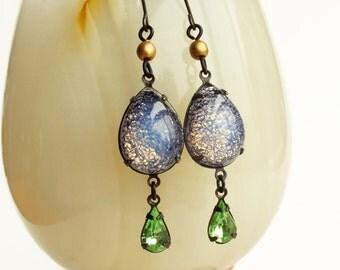 Opal Dangle Earrings Pastel Purple Green Lilac Lavender Jewelry Victorian Opal Bridal Jewelry Spring Pastel Wedding Jewelry