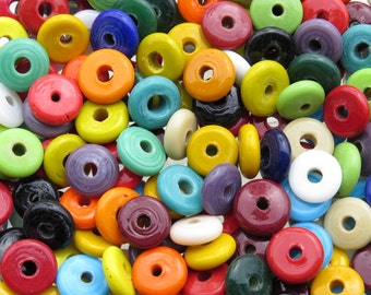 15mm to 18mm (3mm Hole) Assorted Color Mix Lampwork Glass Donut Beads 40 Grams (AS7)