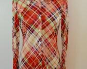 on sale Vintage JACK WINTER Ladies Shirt 1960's 70's long sleeve shiny polyester plaid