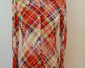 Vintage JACK WINTER Ladies Shirt 1960's 70's long sleeve shiny polyester plaid