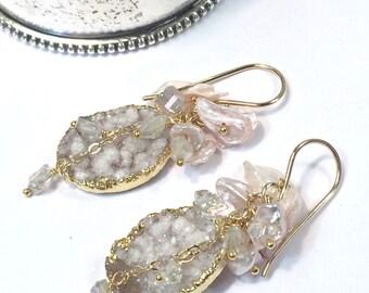 Blush Druzy Earrings Boho Wedding Earring Blush Keishi Pearl Cluster Earring Wire Wrap Pearls AB Crystal ClusterEarring Romantic Bohemian