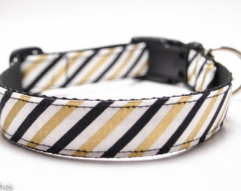 Rugby Black and Gold Stripe Dog Collar / Custom Dog Collar / Martingale or Buckle