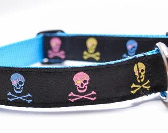 Multicolored Skull Dog Collar / Skulls Crossbones / Pirate / Custom Dog Collar
