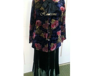 Victorian Edwardian Gown Dress vintage floral skirt jacket OOAKstage costume