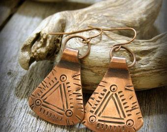Tribal Earrings, Native American, Handcrafted Jewelry, Copper Earrings, Earrings Triangle, Silversmith Earrings, Boho Earrings, Metalsmith