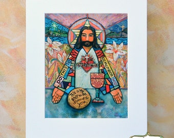 Jesus Christ with Sacred Heart Art Print, Sacrament of Communion, Gift for First Communion or RCIA, Catholic home decor