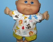 Cabbage Patch Newborn Surprise Teeny Tiny Preemies  Doll Clothes Jungle Animals Short   Set  10 inch  Doll Clothes Girl or Boy  doll