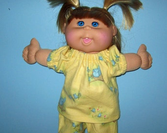 Cabbage Patch Kids,  Doll Clothes, Yellow with Bluebirds  Pajamas, 14  15 inch Doll Clothes, Cabbage Patch Adoptimals