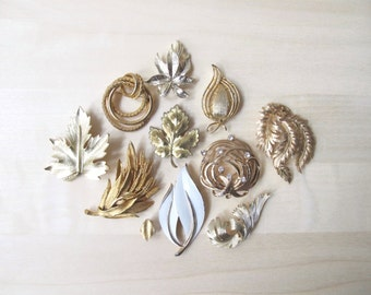 gold leaf enamel brooch collection vintage pins - Triffari Lisner BSK Gerry's Sarah Coventry Grosse - DIY brooch bouquet