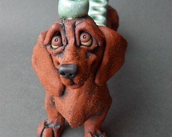 Dachshund Dog Ceramic Sculpture Menorah or Hanukkiah
