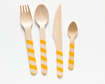 Marigold Stripes - 20 Wooden Utensils - Choose Forks, Spoons, Knives or Ice Cream Spoons