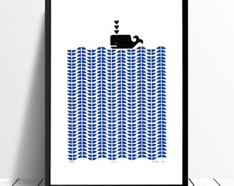 Whale Limited Edition Screen Print (Santorini Blue) A3 size